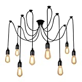 ONEVER E27 Loft Antique Chandelier Modern Chic Industrial Dining Light Ajustable DIY Ceiling Spider Light Pendant Lamp with 8 Light Heads Adapter No Bulbs