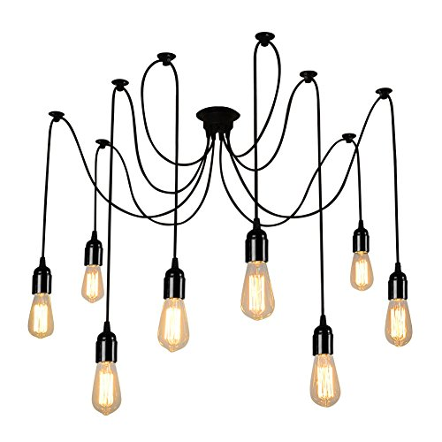 Industrial chandelier amazon onever e27 loft antique chandelier modern chic industrial dining light ajustable diy ceiling spider light pendant lamp with 8 light heads adapter no bulbs aloadofball Image collections
