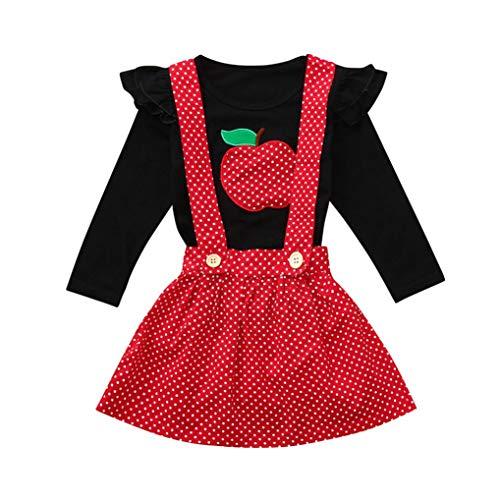 LoveLeiter Kleinkind Infant Baby Mädchen Obst Geraffte Tops Strap Dot Print Rock Outfits Set Geraffte Herbst Frühling Kleidung Kinder Besticktes Top + Polka Dot Rock Zweiteiler