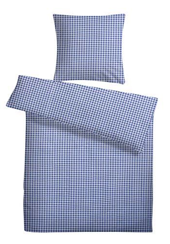 Carpe Sonno leichte Seersucker Bettwäsche 135 x 200 cm Weiß Blau kariert - Bügelfreie Sommer Bett-Bezüge aus 100{e835dd628221024a2ebe2a4a12ee09569cf5ad9a4e8c4a5127a93aa14a3ab10a} gekämmter Baumwolle - Weiche Karo Bettwaren-Garnitur ohne Reißverschluß