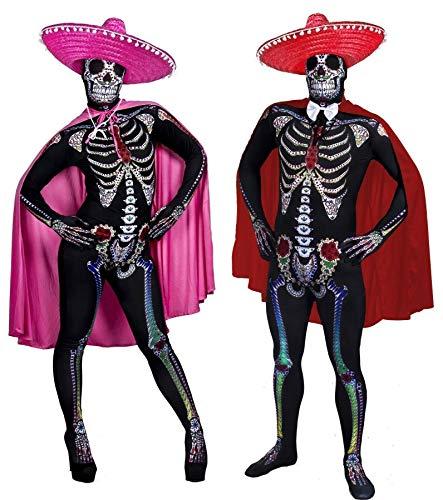 ILOVEFANCYDRESS Paare Sugar Skull Skin Suit VERKLEIDUNG = 2 KOSTÜME + 2 SOMBREROS + 2 UMHÄNGEN+WEISSEN Fliege =Halloween Fasching Tag DER Toten=SMALL+XLarge