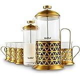 Conjunto de cafetera de prensa francesa premium VonShef de acero inoxidable de 8 tazas en dorado con vaporizador de leche y 4 tazas