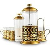 Service Cafetière presse française en acier inoxydable doré/8 tasses en verre de qualité supérieure avec mousseur à lait et 4 tasses