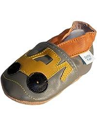 Chaussures de bébé en cuir souple Gris Kaki de bêcheur, Dotty Fish garçons