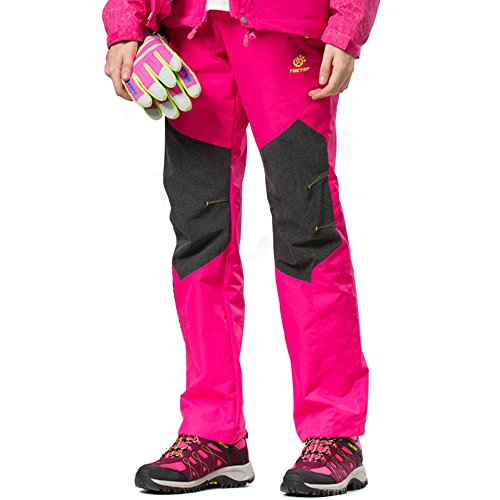 Tofern Femme Pantalon Déperlance Thermique Hiver Automne Résistant Coupe-vent Respirant Design Ergonomique Élastique Sport Randonnée Camping Course à Pied Chasse Fille Rose