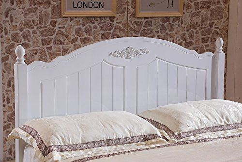 Designer Double 4'9 Solid Wooden White Metal Bed Frame