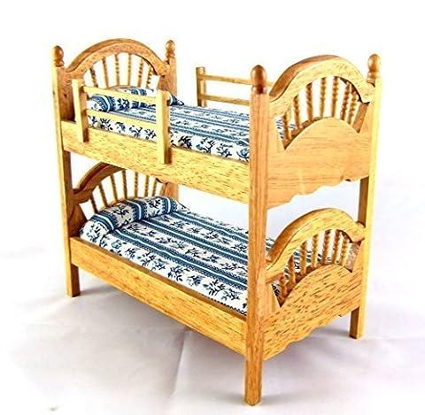 Dolls House Miniature Bedroom Furniture Oak Spindle Bunk Beds Bunks