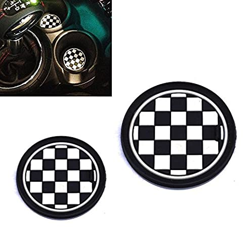 73mm Black/White Checkered Checkerboard Pattern Soft Silicone Cup Holder Coasters
