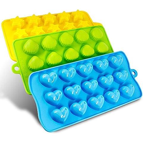 Silicio Molds- Senhai 3 Pack caramelo, chocolate Moldes cubo de hielo Bandejas - corazones, estrellas y conchas, diversión, niños de juguete septiembre