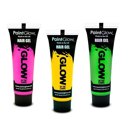 PaintGlow Neon Glow in the Dark Hair Gel Set of 3 x 10ml (Glow In The Dark Hair Gel)