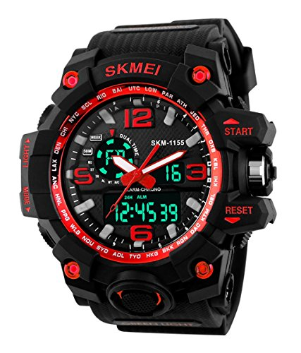 SKMEI Men\'s SK1155D Multifunctional Outdoor Sports Dual Time Analog Digital Wrist Watch Red