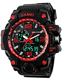 Skmei Analog-Digital Black Dial Men's Watch - 1155-Red