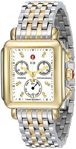 Michele Deco Signature MWW06P000122 33mm Silver Steel Bracelet & Case Synthetic Sapphire Women's Watch