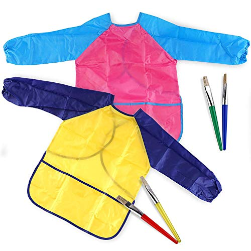 Nrpfell Ein Set mit 2X Kinder Farben Schürzen zum Malen, Einschlie?lich 4 Pinseln für Kreative Aktivit?ten Von Kindern Ab 3 Jahren