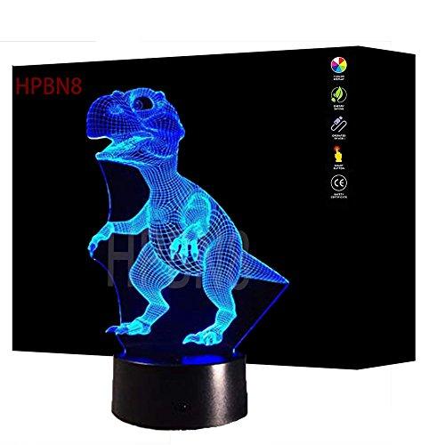 3D Dinosaurier Illusions LED Lampen Tolle 7 Farbwechsel Acryl berühren Tabelle Schreibtisch-Nachtlicht mit USB-Kabel für Kinder Schlafzimmer Geburtstagsgeschenke Geschenk
