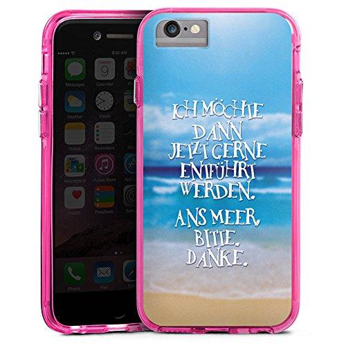 Apple iPhone 7 Bumper Hülle Bumper Case Glitzer Hülle Ocean Meer Mer Bumper Case transparent pink