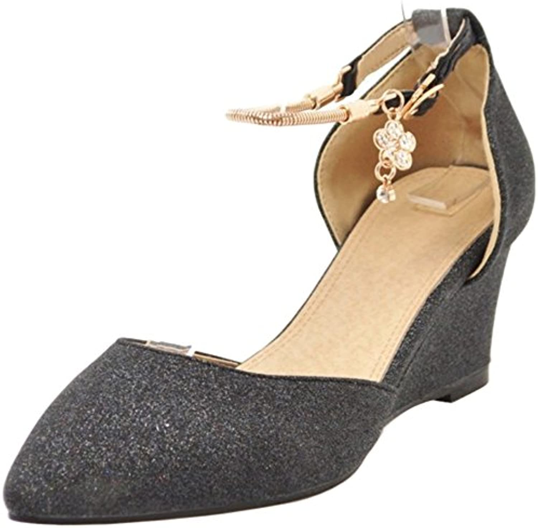 VulusValas Mujer Puntiagudo Correa de Tobillo Sandalias Zapatos