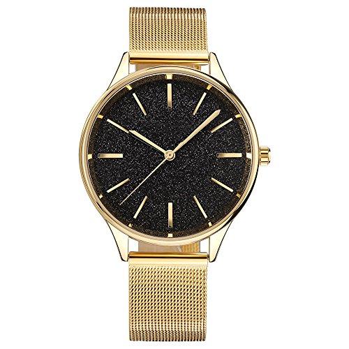 Analoge Quarz-Uhren der Frauen 30M imprägniern Damen-Kleid-Uhren, die für Frauen anwesend sind (gold/schwarz) (Home-kleider Für Frauen)