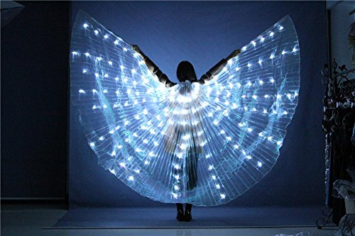 Frauen Belly Dancing Isis Wings LED Light Multicolor 360 Grade mit Shrink Stick Butterfly Requisiten Performance Professional Outfit Kostüm, 5#, - Square Dance Kostüm Muster