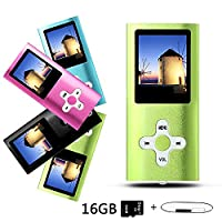 Btopllc MP3 Player, MP4 Player, Music Player, Portable 1.7 inch LCD MP3 / MP4 Player, Media Player 16GB Card, Mini USB Port USB Cable, Hi-Fi MP3 Music Player, Voice Recorder Media Player - Green