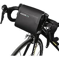 ROSWHEEL negro resistente al agua 3L bicicleta bolsa de manillar bolsa bicicleta cabeza ajustable bolsa sillín Bolsa PVC bolsa de tubo superior de cuadro de ...