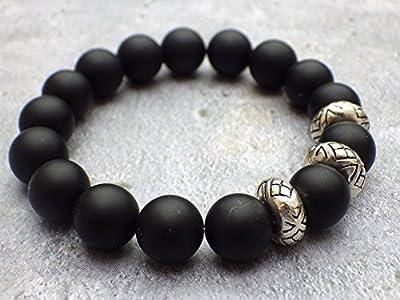 Bracelet pour hommes en perles d'agate noire et perles tibétaines