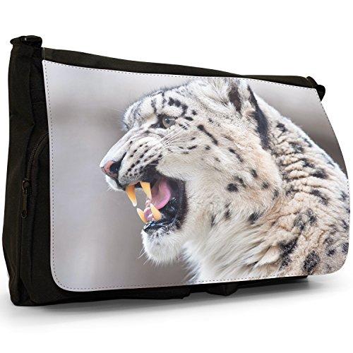 Snow Leopard Wild Cat Grande borsa a tracolla Messenger Tela Nera, scuola/Borsa Per Laptop Growling Snow Leopard