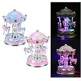 KaariFirefly Spieluhr Karussell LED Leuchtend Merry-Go-Round Spielzeug Kinder zufällige Farbe
