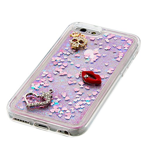 MOONCASE iPhone 6S Hülle, Bling Glitzer [Lips] Muster Strass Flüssiger Schutzhülle für iPhone 6 / 6S (4.7 inch) Weiche Silikon Soft Gel TPU Case Back Cover Silber 02 Rosa 02