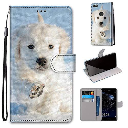Miagon Flip PU Leder Schutzhülle für Huawei P10 Lite,Bunt Muster Hülle Brieftasche Case Cover Ständer mit Kartenfächer Trageschlaufe,Schnee Hund
