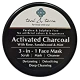 #10: Teal & Terra Mask with Activated Charcoal, Bentonite and Kaolin Clay, Aloe Vera, Rose, Sandalwood 3in1 Scrub (100g, Black)