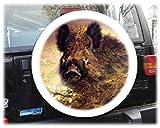 AB3-00187 Wildschwein Keiler Reserveradabdeckung 79x30 cm aus Planenmaterial und Kunstleder Reserveradhülle Ersatzradabdeckung Reifencover Radhülle Überzieher Diameter 79 cm - 31´´ Width 30 cm - 12´´