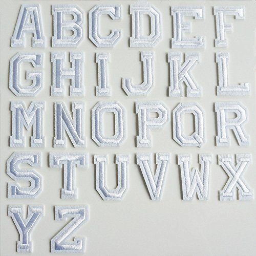 26weiß Alphabet Buchstaben Nähen Eisen auf Patch Badge bestickt Feministische Patches für Jacken Taschen Hat Jeans-Applikation (Buchstaben-patches Ein)