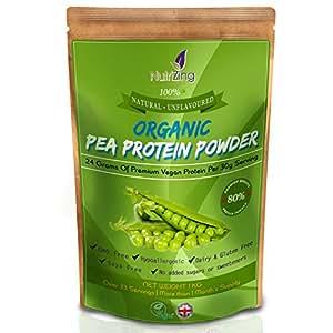 Proteina di Pisello Organica in Polvere NutriZing ~ 80% Proteina ~ Oltre 30 porzioni & 1 mese di rifornimento ~ Il Meglio Per Vegetariani e Vegani ~ Senza Soia & Glutine ~ Astuccio da 1kg ~ Organic