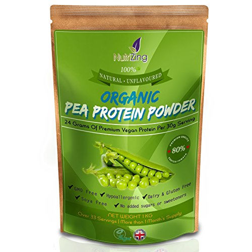 NutriZing's Natural Organic Pea Protein Powder ~ 80% Essential Protein ~ Peas Sourced From Canada & Processed in the UK ~ Pure & Unflavoured ~ Over 30 servings & 1 month's supply ~ Best For Vegetarians and Vegans ~ Helps Build Muscle ~ Soy & Gluten Free ~ 1kg pouch ~ Nutrition for Sport & Exercise ~ Mass Gainer