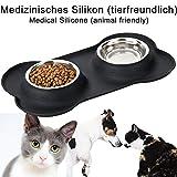 Napf Set für Katzen & kleinere Hunde – 2x Edelstahlnapf incl. flexiblem Silikontablett - 5