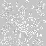 GRAZDesign 770060_57_010 Wandtattoo Badezimmer Meer Seepferdchen Muscheln | maritimes SET Bad-Tattoo für Fliesen - Wände - Tür (57x57cm//010 weiss)