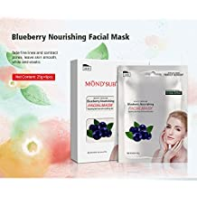MOND'SUB Blueberry Fruit Facial Mask with Natural Blueberry Extract (Pack of 6 x 25g)