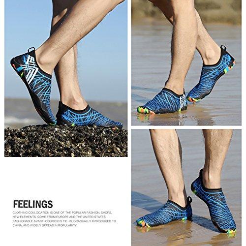 Unisex Strandschuhe Aquaschuhe Breathable Schlüpfen Schnell Trocknend Schwimmschuhe Surfschuhe für Damen Herren Kinder Baby Blau 4