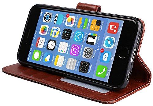 Iphone 6 Plus Case Cuir, Coque Iphone 6 Plus silicone, Iphone 6S Plus Accessoires, Coque Iphone 6S Plus silicone, Nnopbeclik® Mode Fine Folio Wallet/Portefeuille en Bonne Qualité PU Cuir Housse (5.5 P marron