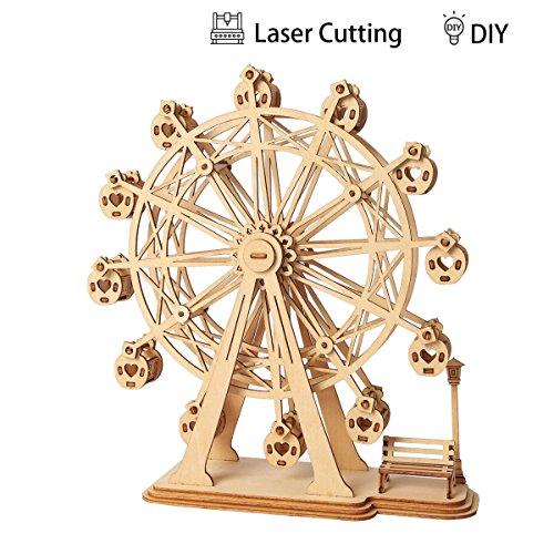 Rolife 3D Madera de Juguete, DIY Puzzle de Madera Kits de Modelo Juguete Modelo de Rompecabezas para Niños y Adultos (Ferris Wheel)