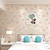 Tapete, Country Side Style Floral Tapetenrollen Wohnkultur Non Woven 3D Wand Papier Wohnzimmer Schlafzimmer-Rosa