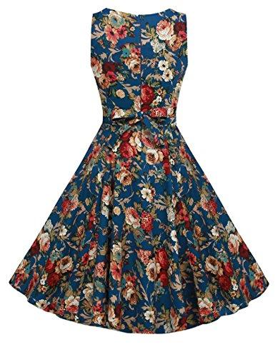 Pinkyee Damen A-Linie Kleid Blau-Kleine Rose