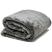 AIREE FAIREE Throws for Sofa Faux Fur Blanket for Bed Lined with Fleece Plus Storage Bag Soft 140 x 180 cms (Grey)