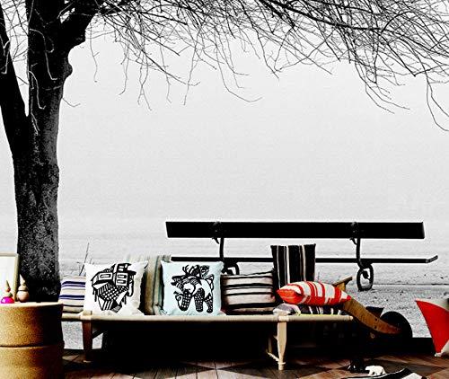Cczxfcc Benutzerdefinierte 3D Fototapete Wandbild Schwarz Weiß Big Tree Bank Abstrakte Kunst Wandmalerei Moderne Wohnzimmer Sofa Tv Hintergrund Decor