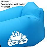 2018 Cosy Cloud™ Inflatable lounger air sofa wind bag – Portable outdoor furniture waterproof with integrated pillow – blow up sun beds loungers for pool beach holiday - instant seat or bed for camping festivals travel