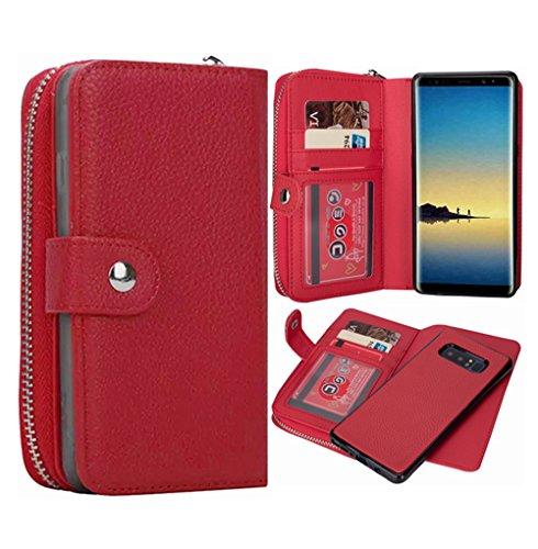 Galaxy Note 8Geldbörse Fall, hysjy Magnetic Abnehmbare Flip Leder Telefon Fall mit Kartenfächern Wristlet Gurt Tasche Abnehmbarer Slim Back Cover für Samsung Galaxy Note 8, Zip-Red -
