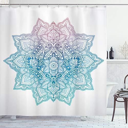 ABAKUHAUS Lotus Rideau de Douche, Paisley Motif Bohem Art, Tissu Ensemble de Décor de Salle de Bain avec Crochets, 175 cm x 240 cm, Lilas Bleu pâle