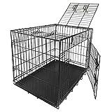 Nemaxx Transportbox Transportkäfig Drahtkäfig Klappbar Hundebox Hundekäfig Käfig Größe L in Schwarz