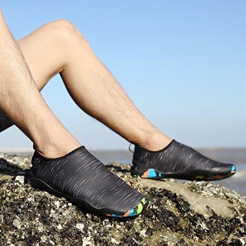 Leaproo Wasserschuhe Damen Herren Aquaschuhe Strandschuhe Surfschuhe mit Rutschfeste Sohlen Wassersport Schnorcheln Schwimmbad Yoga Beach Shoes Schwarz